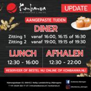 Konbanwa aangepaste tijden