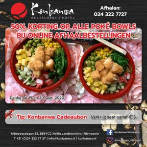 50% korting op alle poké bowls bij Konbanwa