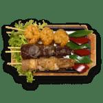 Mixed-grillspies kip, bief, garnalen