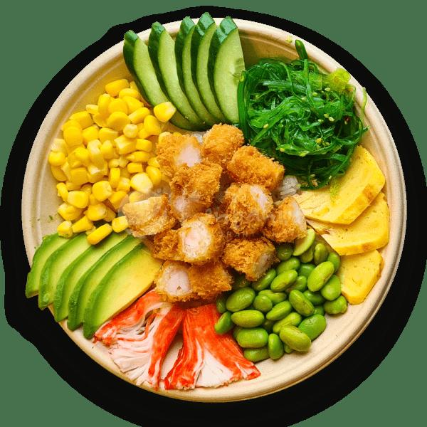 Poké bowl garnalen