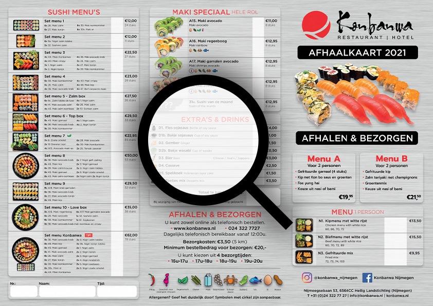 Konbanwa Afhaalkaart 2021 Voorbeeld
